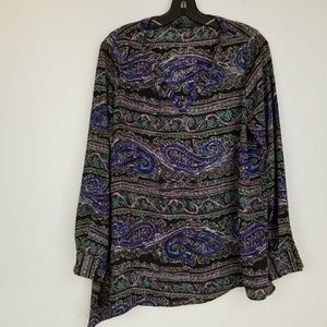 The limited Paisley print uneven tiered hem blouse